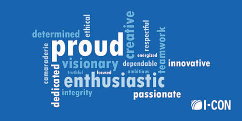 Word cloud of core values