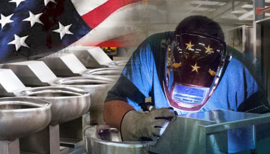 Employee welding stainless steel with the United States flag overlayed on the image
